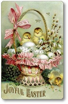 Vintage gifted line chicks in basket easter card vintage gifts item 735 vintage victorian style easter basket plaque negle Choice Image