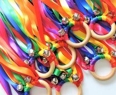 Waldorf Ribbon Hand Kite With Bell 20 pcs Summer Party Favors, Rainbow Party Favors, Rainbow Ribbon, Rainbow Colors, Kids Rainbow, Birthday Favors, Birthday Parties, Birthday Ideas, Kite Party