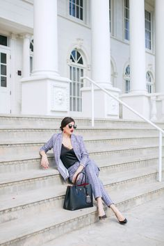 Laura Lily Fashion Travel and Lifestyle Blog, Mad About Plaid, Missguided Plaid Suit, Black Prada Cuir Tote, Plaid Suit, Plaid Jacket, Plaid Pants, Prada Sunglasses, Plaid Pattern, Girl Boss, Lifestyle Blog, Work Wear