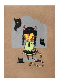 Sneaky Little Devil original by Sara Harvey $20