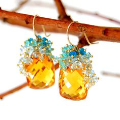 Citrine Earrings Citrine Jewelry Blue Topaz by AmyHoltonDesigns, $384.00