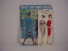 Vtg VOGUE COUTURIER DESIGN #1458 Dress & Coat, Rodriguez of Madrid, Size 12 sld 24.25+4.16 4bds 6/27/16 Vogue Couturier Design, #1458, Rodriguez of Madrid, Dress and Coat, Size 12.envelope good bit of wear, some stains.   very good condition - cut but complete