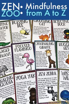 Welcome to the Zen Zoo! This mindfulness from A to Z activity pack is perfect for creating a mindful, zen classroom guidance lesson or small group counseling experience for early elementary students! Use the 26 mindfulness scripts to lead students through Elementary School Counseling, School Social Work, School Counselor, Elementary Schools, Counseling Activities, Group Counseling, Activities For Kids, Calming Activities, Leadership Activities
