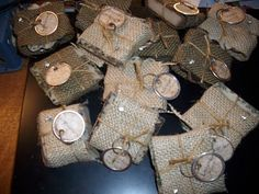 homemade soap wrapped in burlap with tag <3