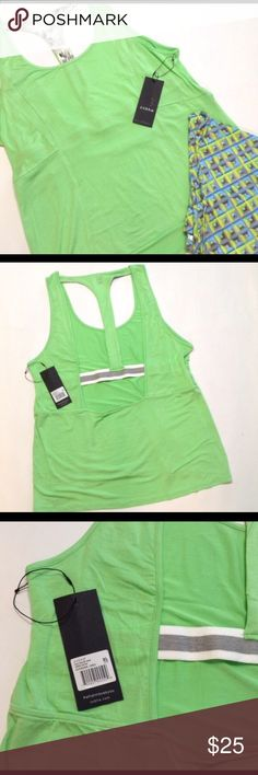 """Zobha open back half racer back tank Green Gecko hi lo tank. Loose fitting and comfy! No shelf bra, one of those cute bralettes would look awesome with this! ( I don't know how that girl is wearing it without a bra! 😬 ) Length 25-27"""" measured from top of shoulder seam. 21"""" bust across. ( not selling a blue one, 4th pic is just to show how it fits ). I am showing how the black M one fits on me, it's a very loose fitting M! Zobha Tops Tank Tops"""