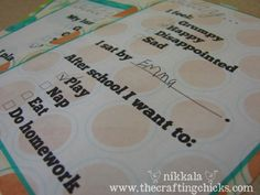 "After school ""conversation"" cards kids can fill out to help them talk about their day."