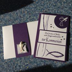 Kommunionkarte Stampinup und Viva Dekor, Farbkarton Aubergine, Sticker Kelch Hobbyfun, Stanze Kreis 2'', Embossing Pulver weiß
