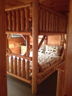 The new quilts on the queen bunk beds.