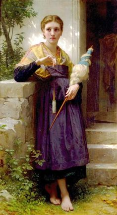 Hand spinning with a drop spindle. And, it is a beautiful painting from the early Pre-Raphaelite era - The Spinner by William-Adolphe Bouguereau painted on Oil on Canvas William Adolphe Bouguereau, Hans Thoma, Munier, Art Du Fil, Isadora Duncan, Drop Spindle, Early Middle Ages, Pre Raphaelite, Portraits