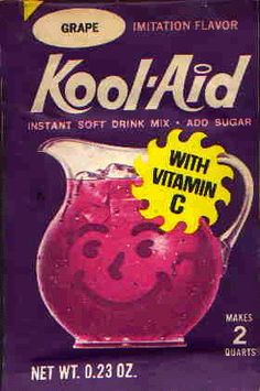 Kool Aid - I remember that's what we drank as kids. Milk, water or Kool Aid. Remember the Kool Aid guy? he would bust though the walls. Lime Kool Aid, Grape Kool Aid, Grape Soda, Brassy Hair, My Childhood Memories, 1980s Childhood, Bad Memories, Sweet Memories, Laminas Vintage