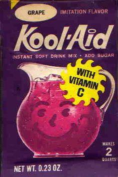 Always had Kool-Aid when friends visited.  Via: Nebraska Tourism: Ever hear of Kool-Aid?   Invented in Hastings, Nebraska by Edwin Perkins in 1927.