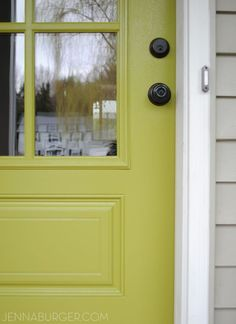 Green and a grey house... Beautiful Front Door Paint Colors - Satori Design for Living