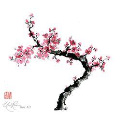 Plum Blossoms - Original Brush painting by Nan Rae
