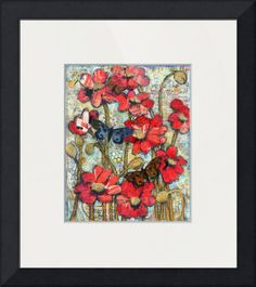 """""""beethoven butterflies red poppy art"""" // You will love the bright red poppies and delicate butterflies in this garden by artist schulmanArt. The mixed media collage art pictures layes of piano music, florals , dots and other decorative elements. // Imagekind.com -- Buy stunning fine art prints, framed prints and canvas prints directly from independent working artists and photographers."""