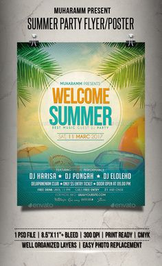 Summer Party Flyer / Poster Template PSD