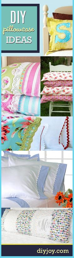 DIY Pillowcases and DIY Sewing Projects for Pillows | Easy and Creative Do It Yourself Bedroom Decor Ideas