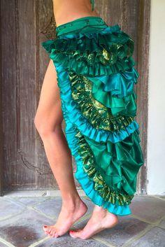 Ladee Bustle Skirt Green Purple Festival Burning Man by LadeeTaha