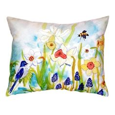 Pair of Betsy Drake Bird & Daffodils No Cord Pillows 18 Inch X 18 Inch, Multi