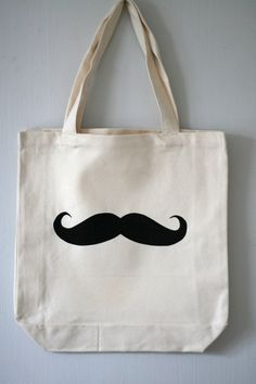 eco bag large mustache. $9.00, via Etsy.