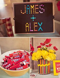 Channel a bit of retro charm by using old school toys, like the Lite Brite, as fun table props.