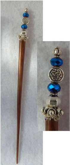 Silver & Blue Celtic Knot Beaded Wooden Hair Stick New Shawl Pin Accessories  #Handmade #HairStick