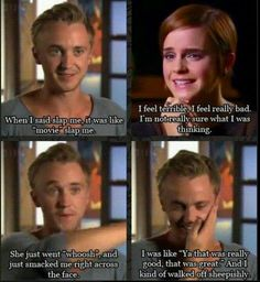 "Tom Felton and Emma Watson discuss Hermione slapping Draco in ""Harry Potter and the Prisoner of Azkaban"". XD"