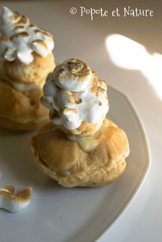 Petits choux façon brioche polonaise /  Popote et Nature Pancakes, Muffin, Breakfast, Nature, Food, Candied Fruit, Brioche, Banana, Creamed Cabbage