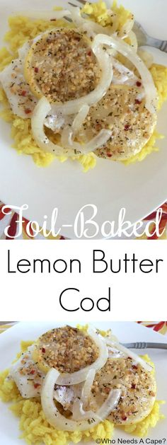 Fast and delicious, this Foil-Baked Lemon Butter Cod is the perfect dish for busy nights. A fancy dinner with very little prep. You'll love the flavors. #ad #FrozenToFork @alaskaseafood
