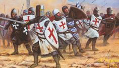 Templar crusaders in battle Medieval Knight, Medieval Armor, Silver Knight, Crusader Knight, Christian Warrior, Armadura Medieval, Early Middle Ages, Knights Templar, Dark Ages
