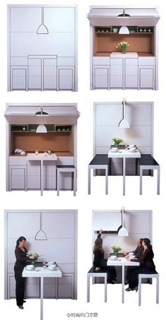 Dining room and home bar combo in a murphy bed style. Great Design Ideas We Love…