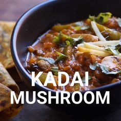 How to Make Kadai Mushroom Recipe with step by step photos and video. A simple and flavorful Indian curry made with mushrooms, bell peppers & freshly ground spices. Paneer Recipes, Veg Recipes, Spicy Recipes, Vegetarian Recipes, Paratha Recipes, Mushroom Recipes Indian, Healthy Indian Recipes, Indian Vegetable Recipes, Gourmet