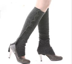 Long Leg Warmer Grey Leg Warmers with Buttons On the Side to Open Booties Sock(LL31) on Etsy, $15.27 CAD