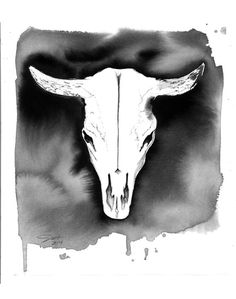 Cow Skull print from original watercolor by JessicaIllustration, $25.00 #watercolor #cowskull #jessicadurrant