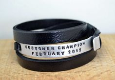 FREE SHIPPING Mens Personalized Leather Bracelet by echoleathers