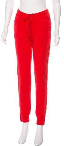 Red Anine Bing mid-rise knit joggers with elasticized waistband, dual seam pockets at hips and zip accents at cuffs. Mid Rise Skinny Jeans, Athletic Pants, Acne Studios, Lounge Wear, Joggers, Jeans Size, Slim, Legs, Anine Bing