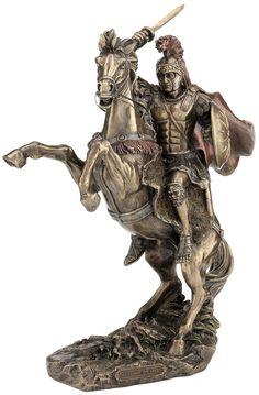 Alexander the Great on Horseback Warrior Tattoo Sleeve, Sleeve Tattoos, Bronze Sculpture, Wood Sculpture, Tiger Eyes Tattoo, Alexandre Le Grand, Roman Warriors, Yearbook Covers, Alexander The Great