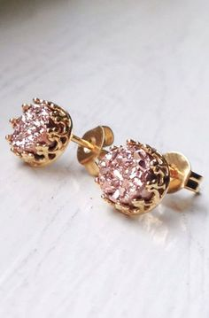 Tiny 6 mm Romantic Princess Rose Gold Druzy stud earrings