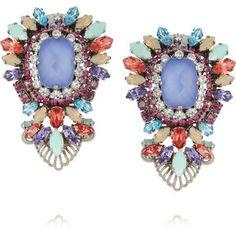 Erickson Beamon Modern Moghul gunmetal-plated Swarovski crystal clip earrings