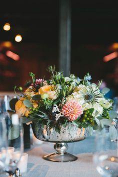Romantic floral centerpiece: http://www.stylemepretty.com/connecticut-weddings/stonington/2016/01/07/rustic-romantic-connecticut-vineyard-wedding/ | Photography: Readyluck - http://readyluck.com/