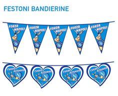 Decora la tua festa con le forme della tua passione con i Festoni Bandierine triangolari e a forma di cuore...rigorosamente azzurri!