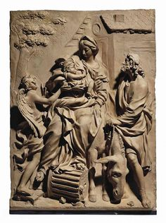 A RECTANGULAR TERRACOTTA RELIEF OF THE FLIGHT INTO EGYPT