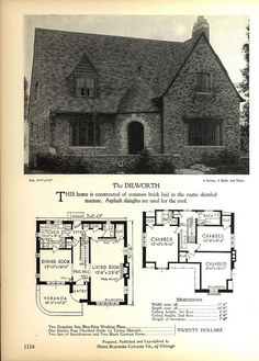 The DILWORTH - Home Builders Catalog: plans of all types of small homes by Home… Mission Style Homes, Tudor Style Homes, Small House Plans, House Floor Plans, Storybook Homes, Cottages And Bungalows, Vintage House Plans, Vintage Architecture, Tudor House