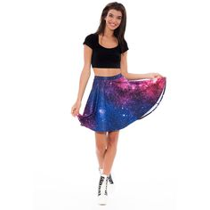 Galaxy Printed Skater Skirt High Waisted Skater Skirt With Very... ($48) ❤ liked on Polyvore featuring skirts, silver and women's clothing