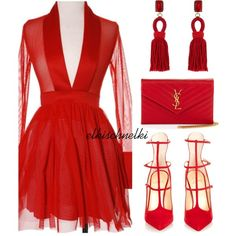 A fashion look from February 2016 featuring Christian Louboutin pumps, Yves Saint Laurent clutches and Oscar de la Renta earrings. Browse and shop related look…