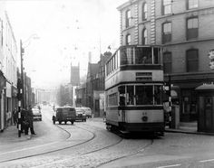 Tram No. 69 travelling to Woodseats via Queens Road turning out of Nursery Street onto Ladys Bridge