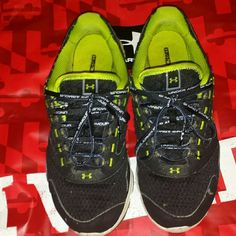 BOGO Under Armour sneakers Very worn, bought from another posher but too small for my feet. I am a true 8.5 these shoes are labeled that but fit more like a snug 8 perfect 7.5. If you would like additional photos I can do that! Just let me know. Lime green and black in color. I changed the laces out but still have the originally white to go with them. No box. Really comfortable!! Just had a lot of wear and tear. No holes. Originals insoles. Any questions don't hesitate to ask! This price is…