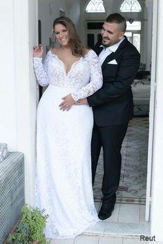 Lace mermaid corset plus size wedding gown with sleeves- takes a visual size 3 size down!