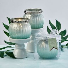 Mint Green Ombre Vintage Mercury Glass Votive Candle Holder- Our new Mint Green Ombre tealight candles will add a scintillating finish to your grand occasion event tables. They also make exquisite favors for guests to take home as a memento of the sp Mercury Glass Candle Holders, Tealight Candle Holders, Votive Candles, Vintage Wedding Favors, Wedding Shower Favors, Bridal Shower, Shower Party, Party Favors, Tea Light Candles