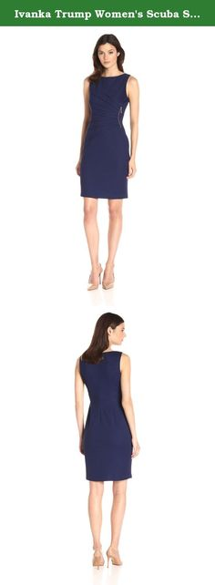 Ivanka Trump Women's Scuba Starburst, Abyss, 6. Sleeveless sheath textured dress with pleating detail in front with inset zipper.
