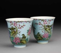 Pair of Chinese Famille Rose Cups. Beautifully painted scene of birds in woodland among pink flowers. China, Kangxi Period, Tea cups.